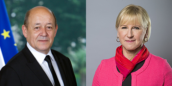 Portrait picture of the two Foreign Ministers of France and Sweden side by side.