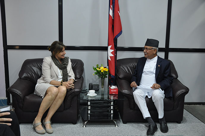 Ms Lövin with Nepal's Prime Minister