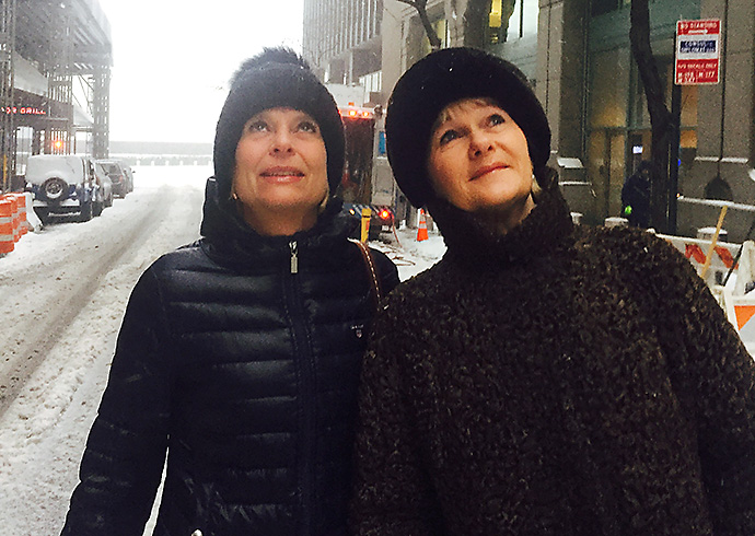 Two women in New York in winter.