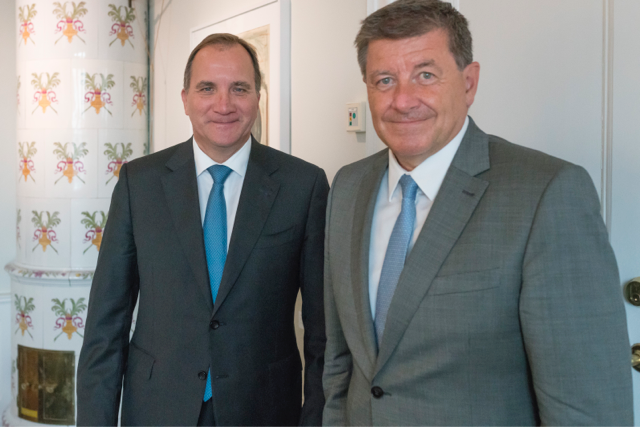 Prime Minister Stefan Löfven and Director-General of the International Labour Organisation (ILO) Guy Ryder.