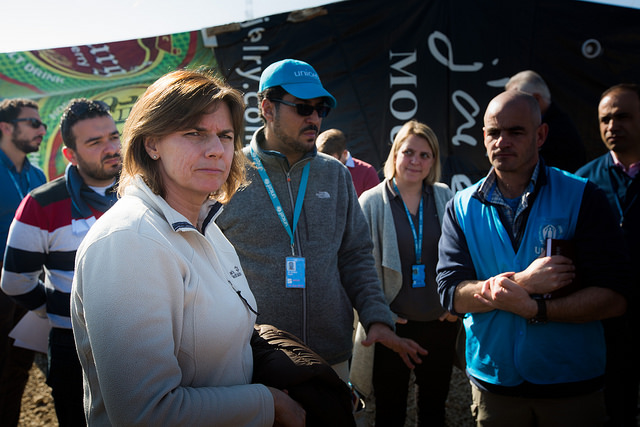 Swedish Minister for Development Cooperation, Mrs Isabella Lövin visiting a refugee camp in Lebanon.