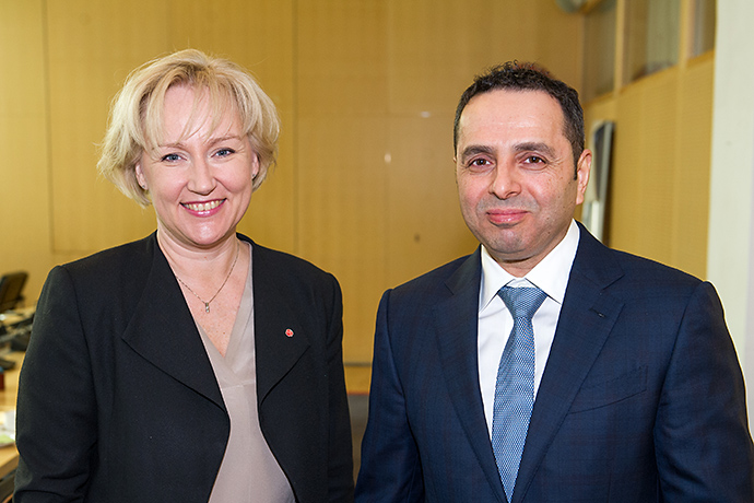 Minister for Higher Education and Research Helene Hellmark Knutsson and Dr Mohammed Abdul Wahed Ali Al Hammadi, Minister of Education and Higher Education in Qatar