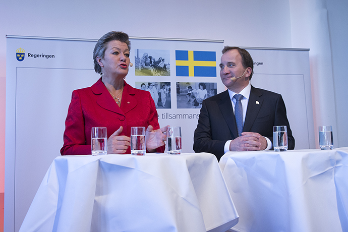 Minister for Employment Ylva Johansson and Prime Minister Stefan Löfven.