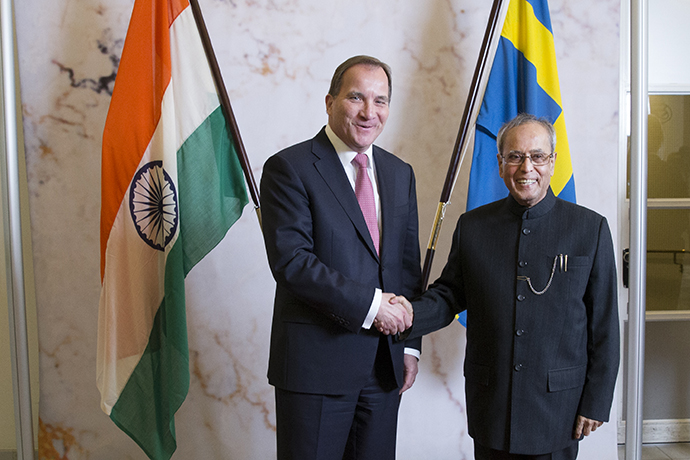 Photo at Stefan Löfven and India's President Pranab Mukherjee