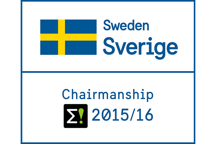 Logotype of the Swedish chairmanship featuring the Eureka E! logotype and the Swedish blue and yellow flag.