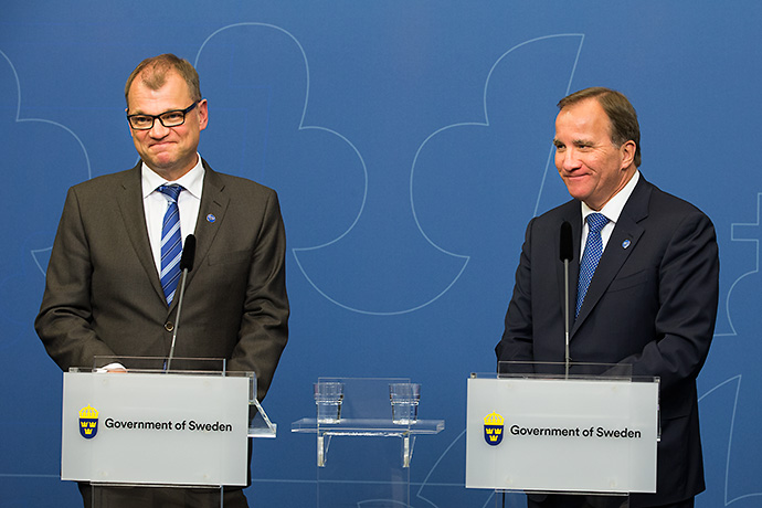 The Finnish and Swedish Prime Ministers at a press conference