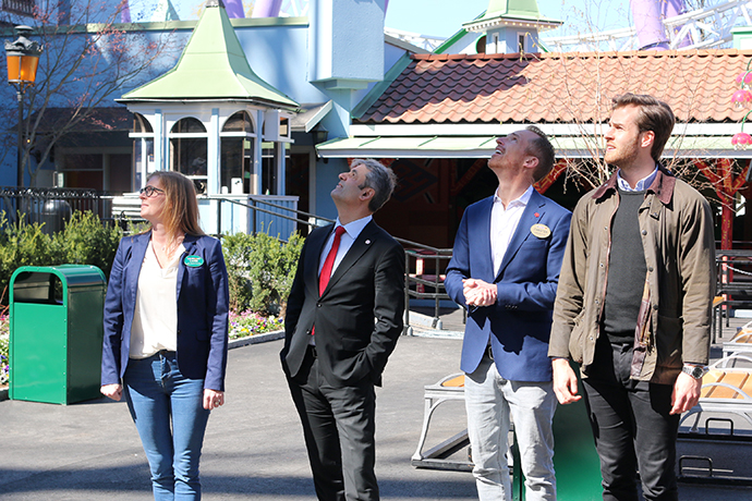 Mr Baylan is taking a walk around the amusement park Gröna Lund with representatives from Parks and Resorts