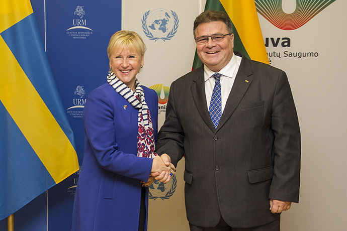 Minister for Foreign Affairs Margot Wallström together with Lithuania's Minister for Foreign Affairs Linas Linkevičius.