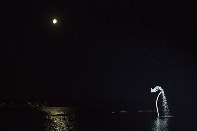 The sculpture in night time