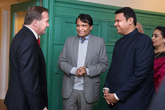 Stefan Löfven with Mr Suresh Prabhu
