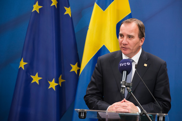 Stefan Löfven speaking on a press conference.
