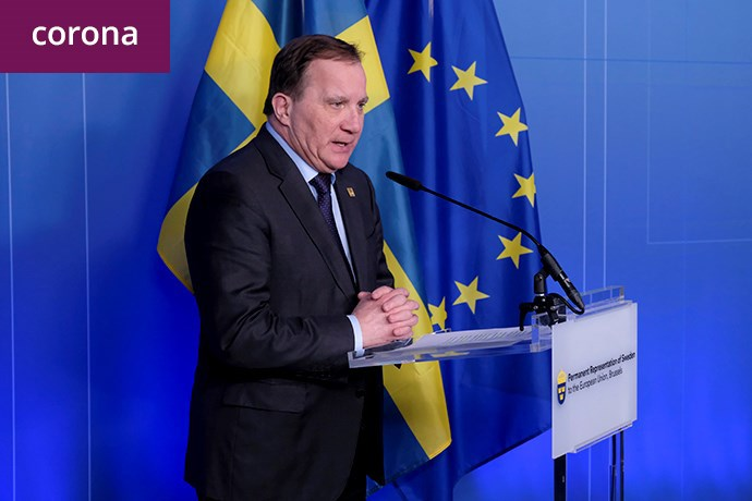 Swedish Prime Minsister Stefan Löfven at a press conference at a previous meeting in Brussels.