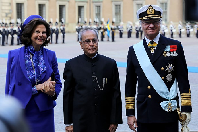 Picture of the King and Queen with President Pranab Mukherjee.