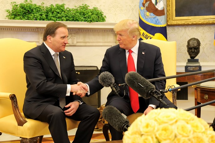 Stefan Löfven and Donald Trump