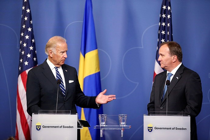 US Vice President Joe Biden and Prime Minister Stefan Löfven at a press conference