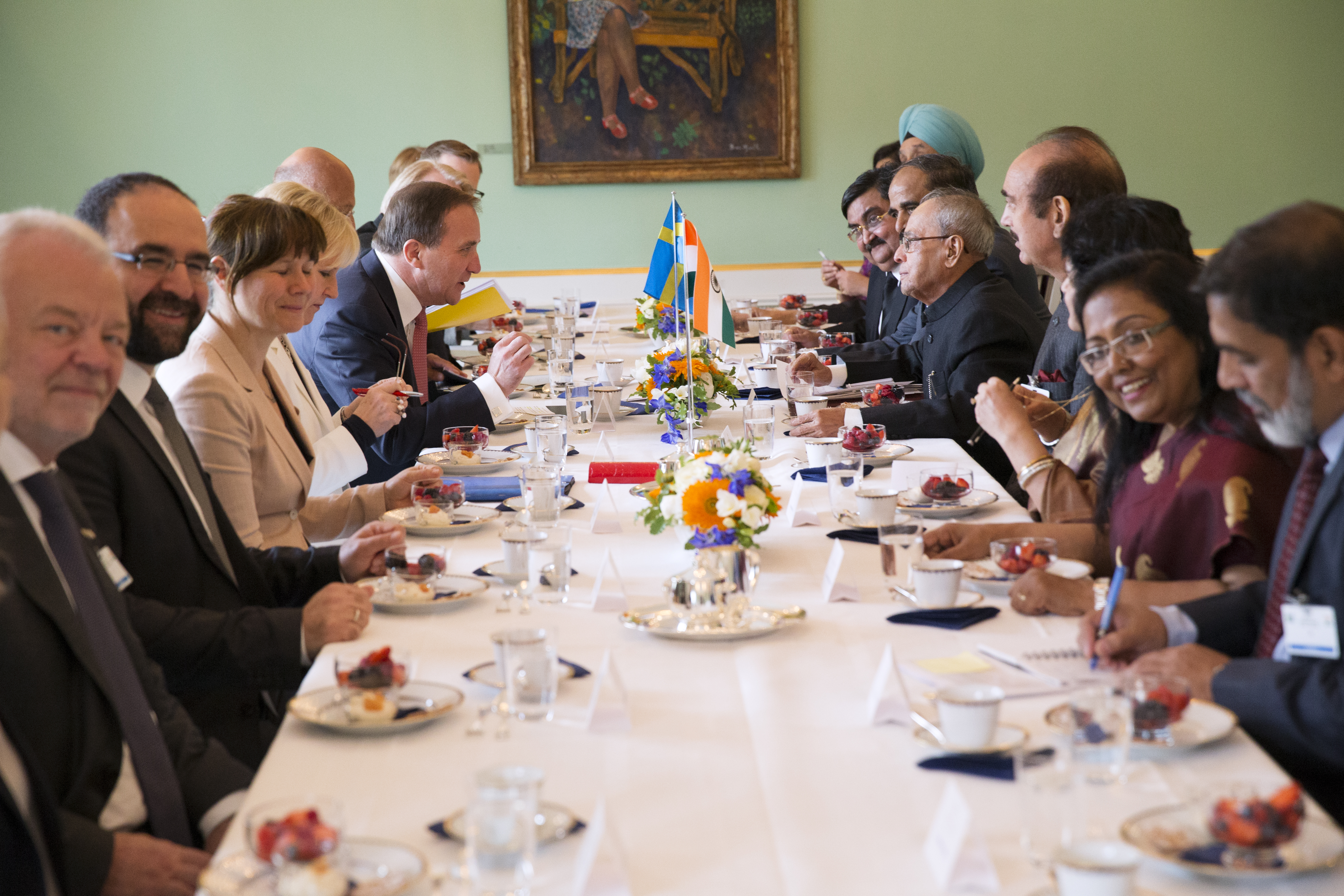 India's President Shri Pranab Mukherjee at a meeting at Rosenbad during the State Visit to Sweden.