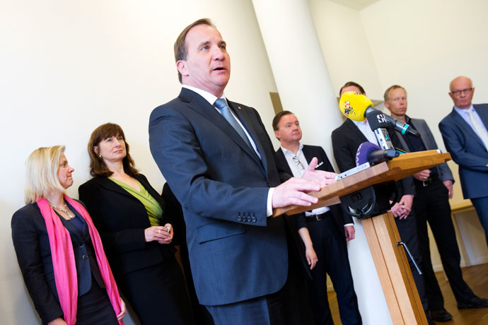 Prime Minister Stefan Löfven giving a speech.