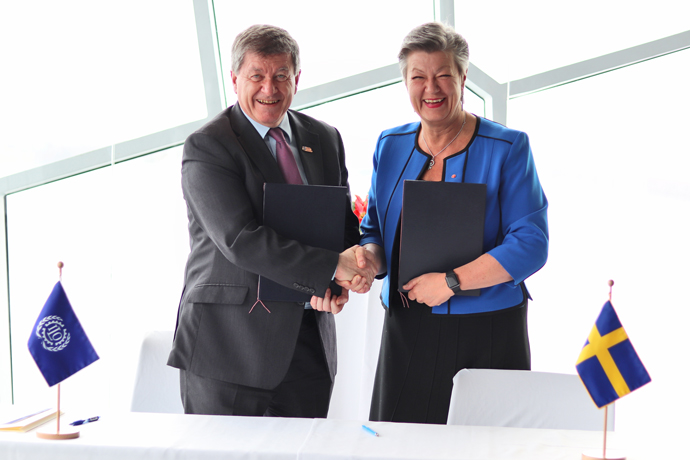 ILO Director-General Guy Ryder and Sweden's Minister for Employment Ylva Johansson