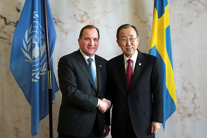 Photo of Prime Minister Stefan Löfven welcomes UN Secretary-General Ban Ki-moon at Rosenbad.