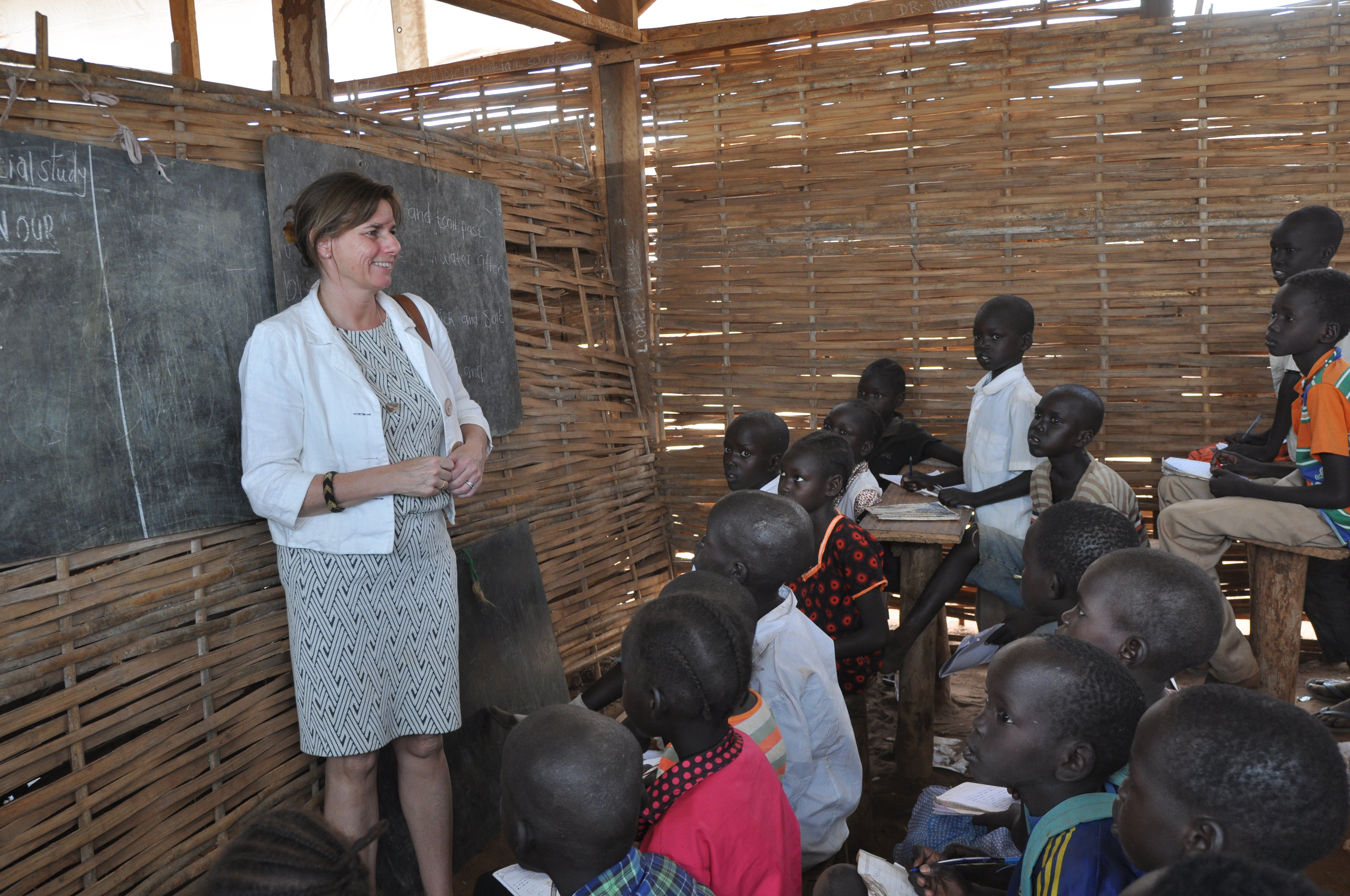 Isabella Lövin visiting a school at the Protection of Civilians site in Juba, South Sudan.