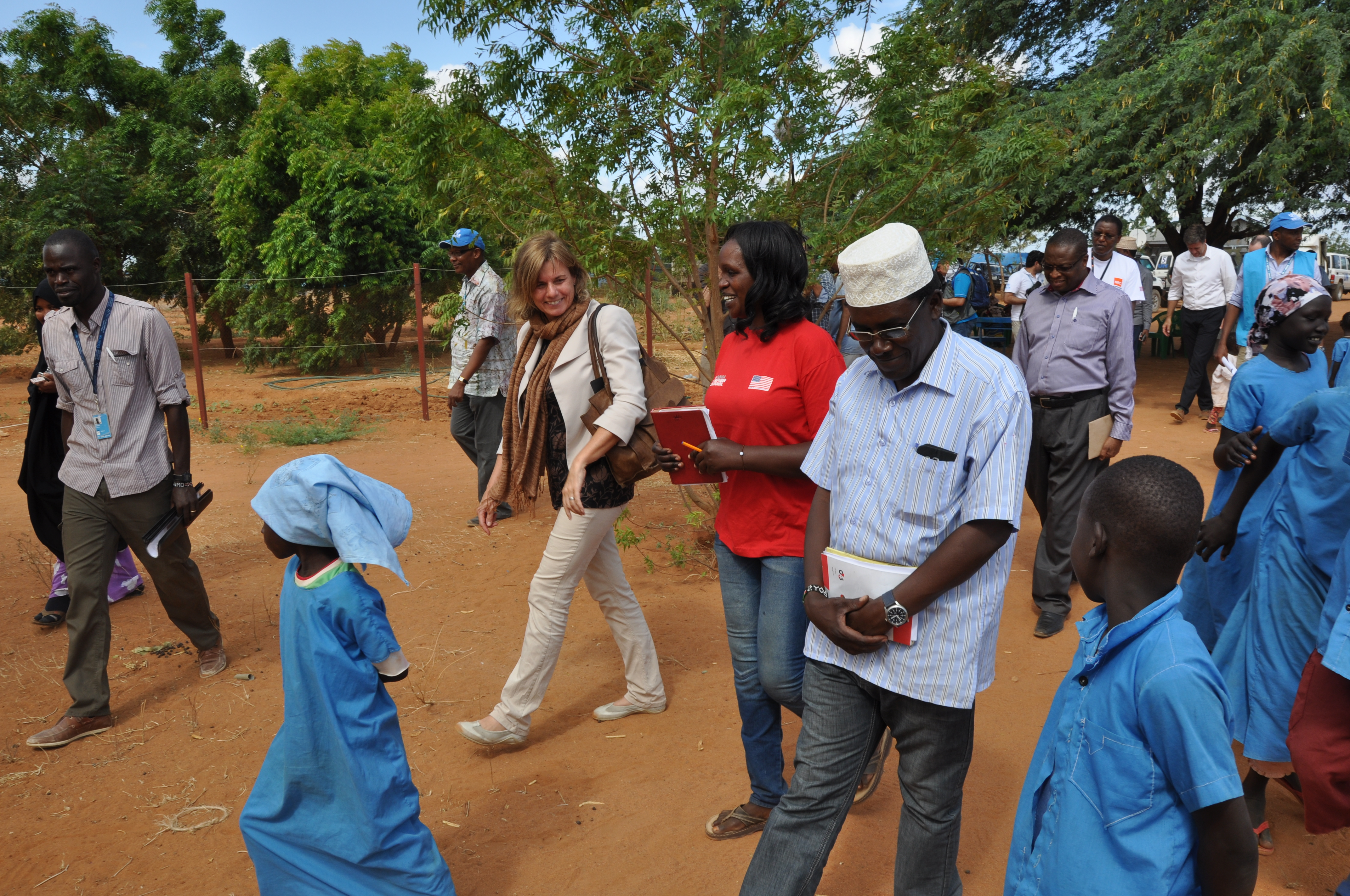 Isabella Lövin visiting a refugee camp in Dadaab, Kenya.