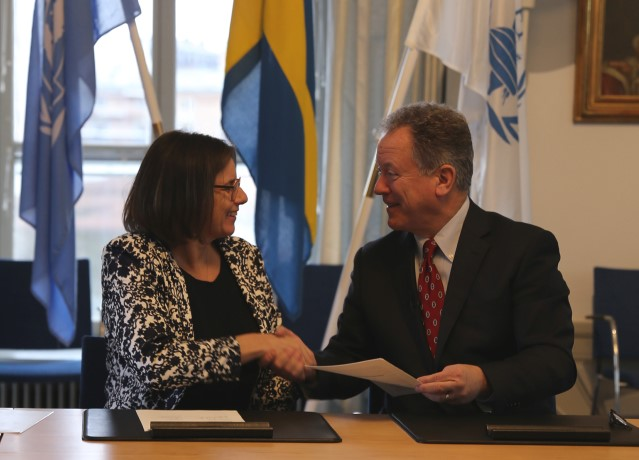 WFP Executive Director David Beasley and Minister for International Development Cooperation and Climate and Deputy Prime Minister Isabella Lövin.