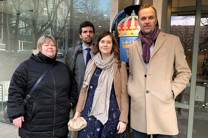 Elena Shakhova, Citizens' Watch, and Anna Dobrovolskaya, Memorial. From Civil Rights Defenders: Tommaso Nodari, Programme Officer, Brussels office, and Anders Pettersson, Executive Director.