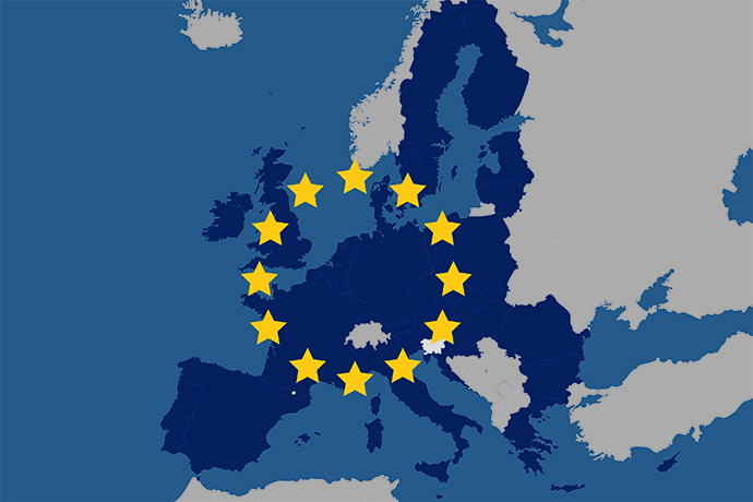 Map over the European Union.