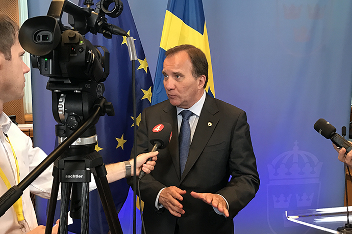 Prime Minister Stefan Löfven interviewed by media