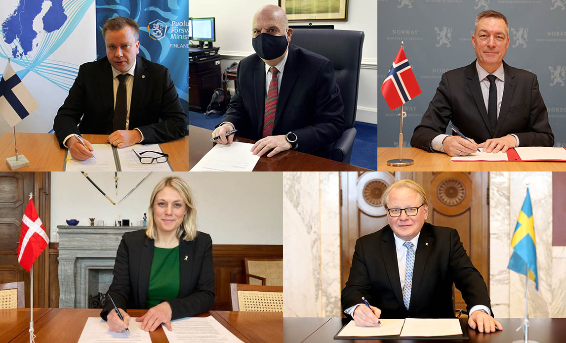 Finland's Minister of Defence Antti Kaikkonen, US Acting Secretary of the Air Force John P. Roth, Norway's Minister of Defence Frank Bakke Jensen, Denmark's Minister of Defence Trine Bramsen and Sweden's Minister for Defence Peter Hultqvist.