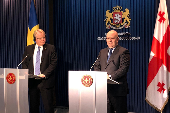 Minister for Defence Peter Hultqvist met his Georgian defence minister colleague Levan Izoria