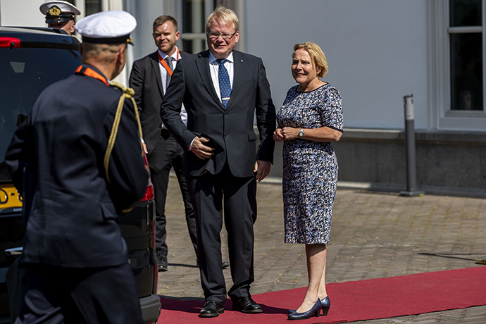 The defence ministers outside Catshuis in the Hague.