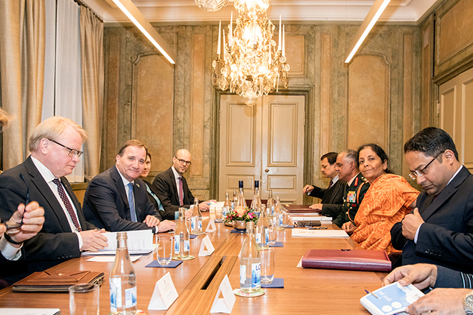 Prime Minister Stefan Löfven and Minister for Defence Peter Hultqvist in a meeting with Minister of Defence Nirmala Sitharaman.