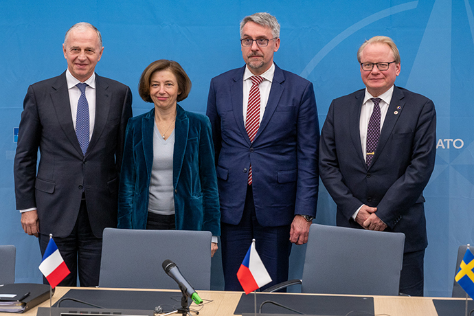 NATO Deputy Secretary General Mircea Geoana; Florence Parly (Minister of the Armed Forces, France); Lubomir Metnar (Minister of Defence, Czech Republic); Peter Hultqvist (Minister of Defence, Sweden.