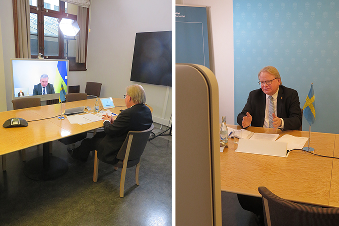 Minister for Defence Peter Hultqvist and Ukrainian Minister of Defence Andrii Taran during the video conference.