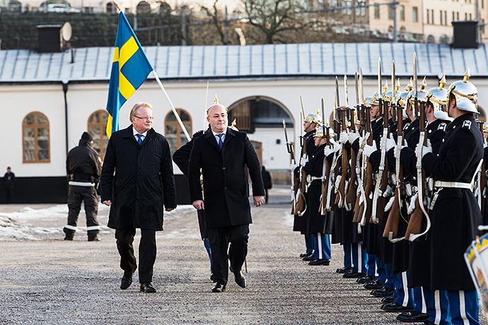 The Swedish Minister for Defence Peter Hultqvist and Georgia's Minister for Defence Levan Izorias