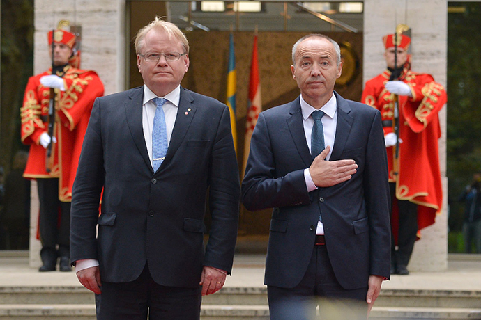 Minister for Defence Peter Hultqvist and the Croatian Defence Minister Damir Krstičević