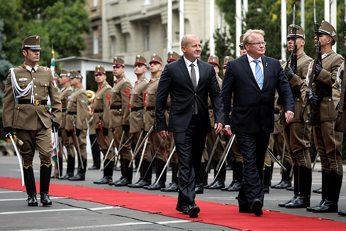 Minister for Defence Peter Hultqvist and the Hungarian Minister for Defence István Simicskó