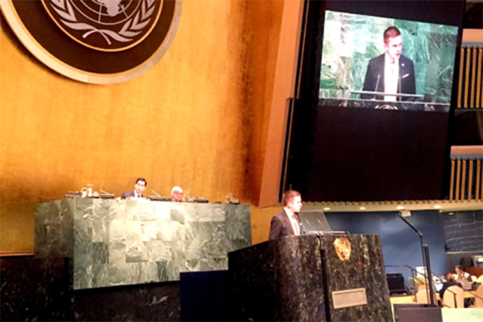 Minister for Health Care, Public Health and Sport Gabriel Wikström is standing at a rostrum in the UN General Assembly