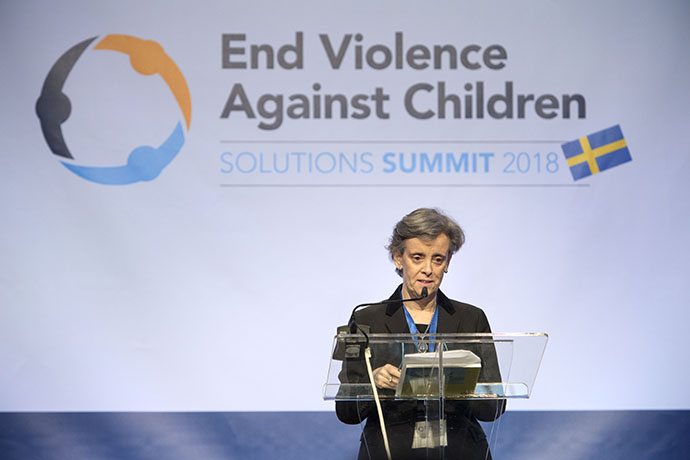 Marta Santos Pais, Special Representative Of the UN Secretary-General on Violence Against Children giving a speech
