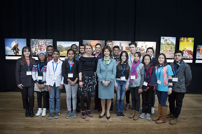 HM Queen Silvia, HRH Crown Princess Victoria and Sweden's Minister for Children, the Elderly and Gender Equality Åsa Regnér meet youth delegates at the summit
