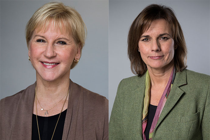 Margot Wallström, Minister for Foreign Affairs and Isabella Lövin, Minister for International Development Cooperation