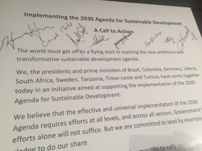 Signed document of the initiative aimed at supporting the implementation of the 2030 Agenda for Sustainable Development