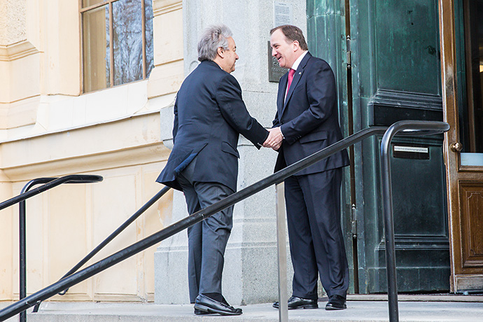 UN Secretary-General António Guterres and Prime Minister Stefan Löfven.